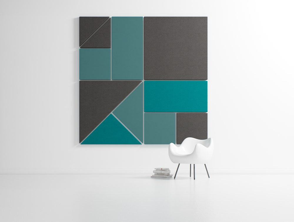 Hush Blocks Acoustic Wall Panels in Blue and Grey