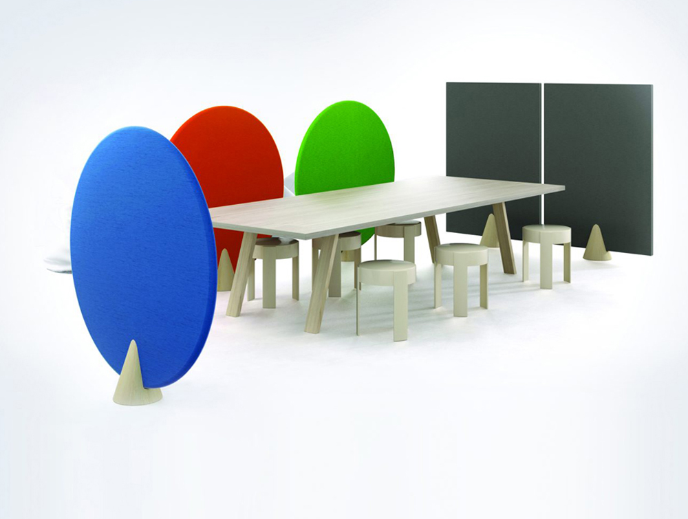 Hush Cone Oval and Rectangular Acoustic Panels in Meeting Room