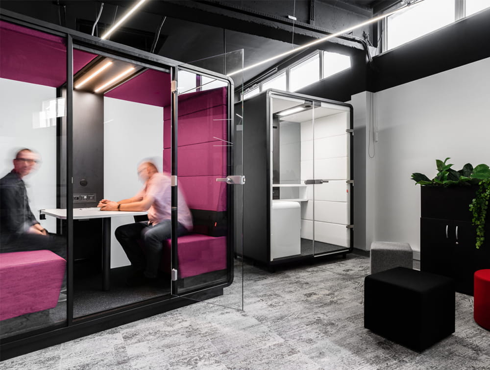 Hush Meet Acoustic Meeting Pod Anthracite Body with Upholstered Benches