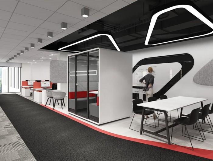 Hush Meet Acoustic Meeting Pod in Open Office Plan
