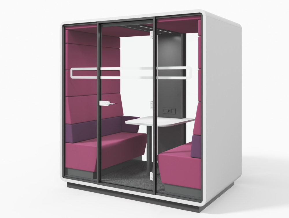 Hush Meet Acoustic Meeting Pod with Glass Door and Upholstered Benches in Purple Fuschia