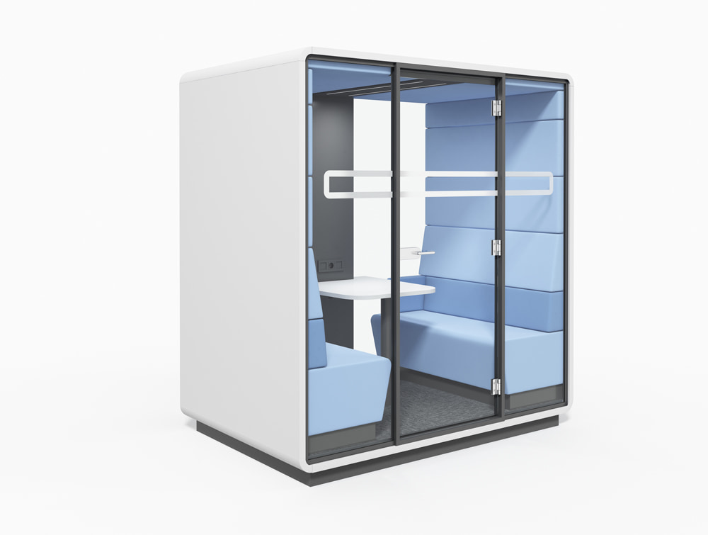 Hush Meet Acoustic Pod with Table Benches and Power Module