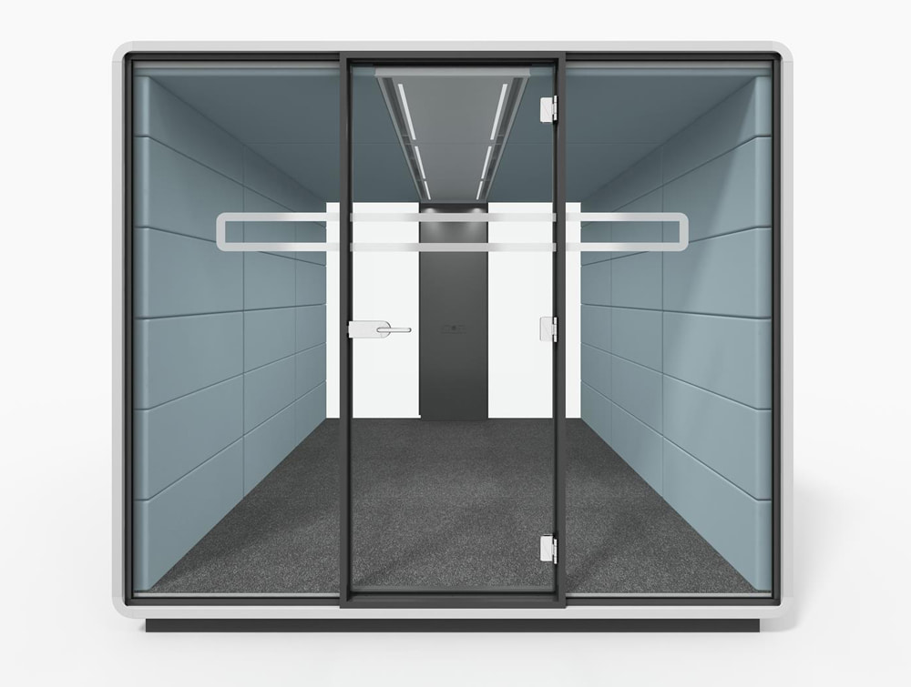 Hush Meet L Acoustic Meeting Pod for Private or Fromal Sound Proofed Glass Panes