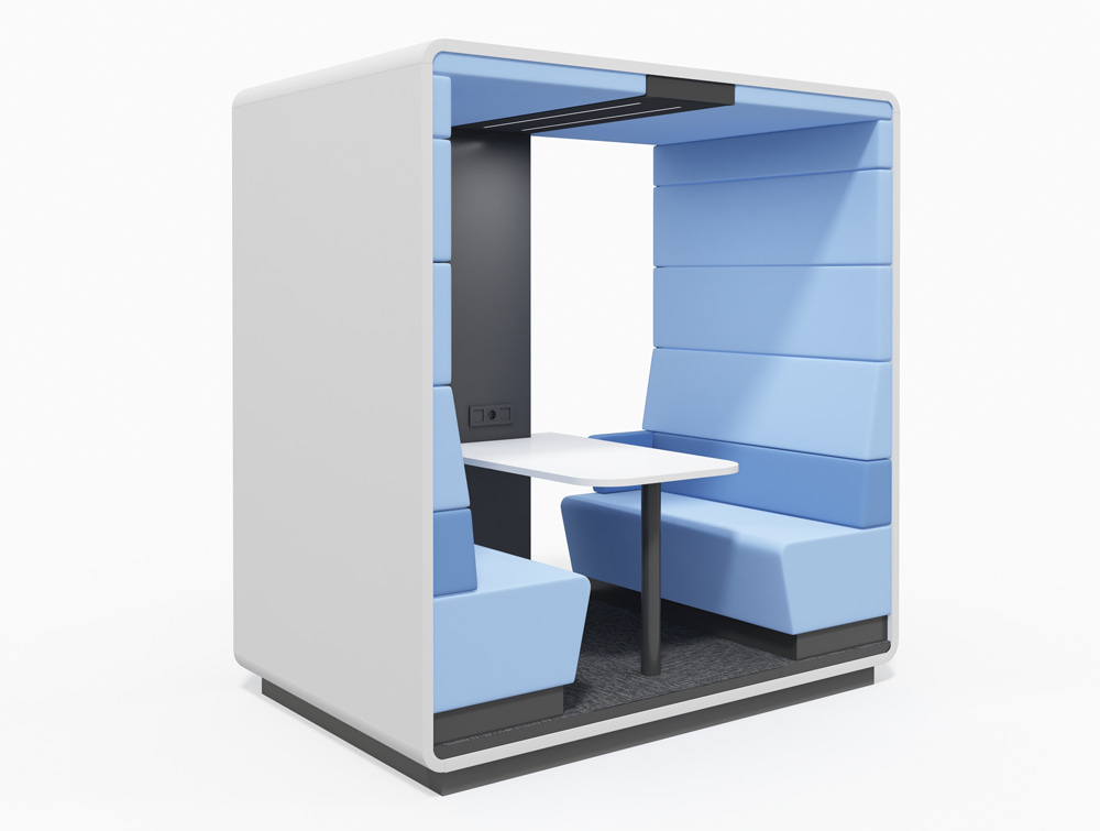 Hush Meet Open Acoustic Meeting Pod White Body Blue Panel and Black Back