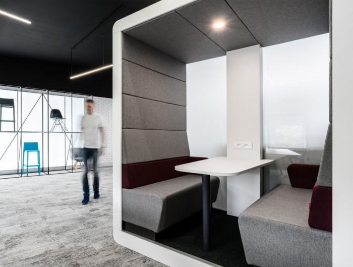Hush Meet Open Acoustic Meeting Pod White Frame and Grey Panels