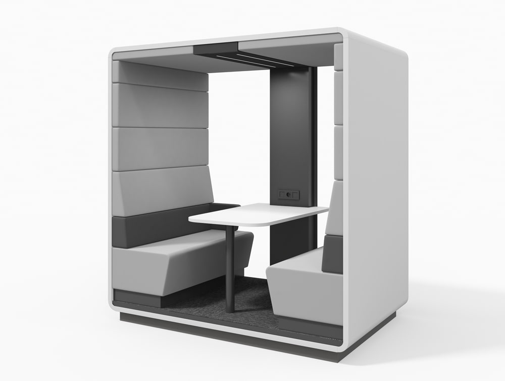 Hush Meet Open Acoustic Meeting Pod in Grey with Power Module