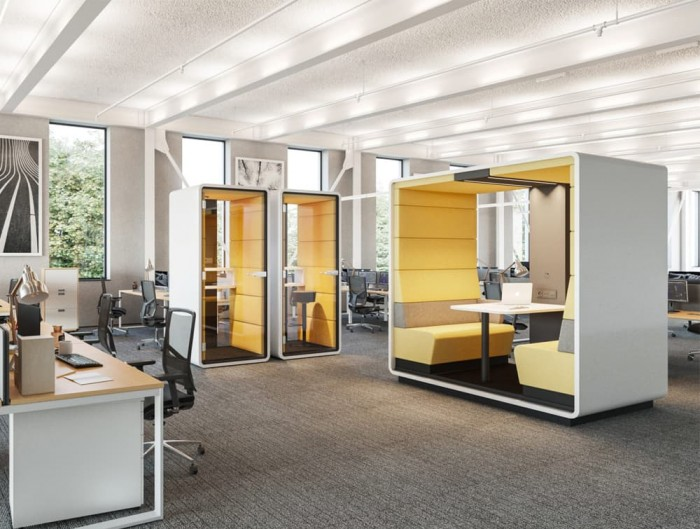 Hush Meet Open Acoustic Meeting Pod in Office Yellow with Standing Phone Booth
