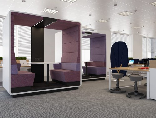 Hush Meet Open Acoustic Meeting Pod in Open Office Plan