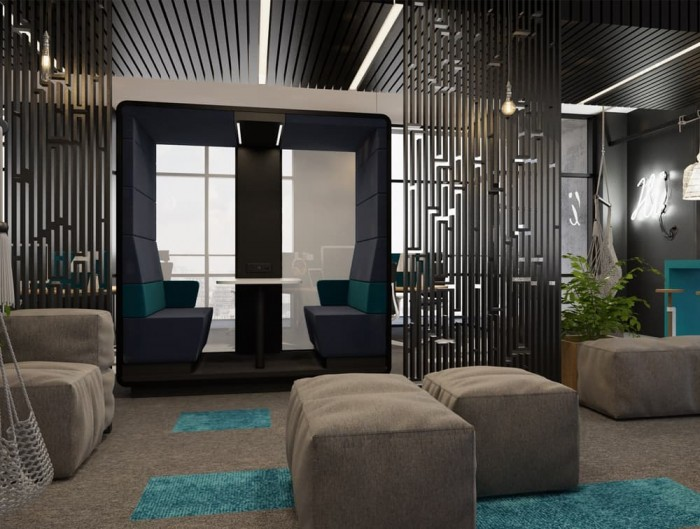 Hush Meet Open Acoustic Meeting Pod in Reception Breakout Area with Pouffes