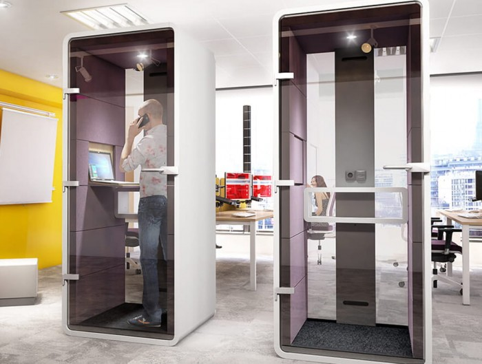 Hush Phone Booth Purple Acoustic Panels Standing with Foldaway Laptop Table and Spotlight