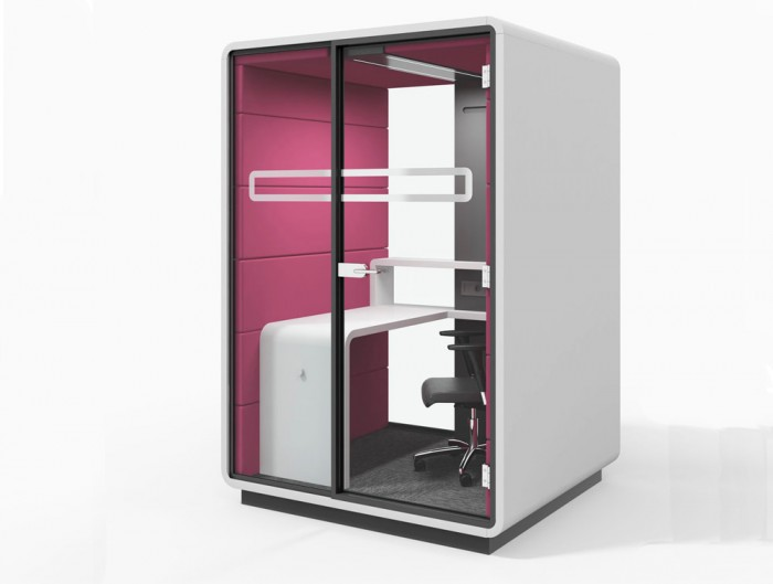 Hush Work Acoustic Seating Individual Workstation with Desk and Storage