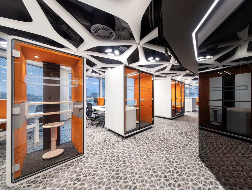 Hush Work Acoustic Seating Workstation Orange Finishes with Led Ceiling Light with Dimmer