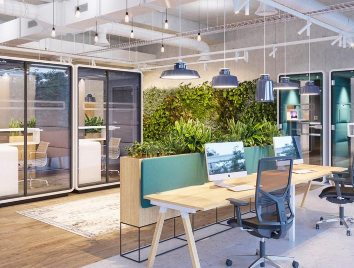 Hush Work Acoustic Seating Workstation and Standing Phone Booth in Modern Office
