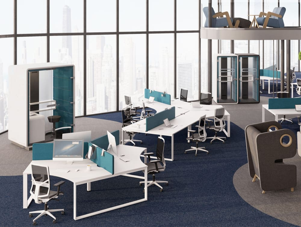 Hush Work Acoustic Seating Workstation in Open Plan Office