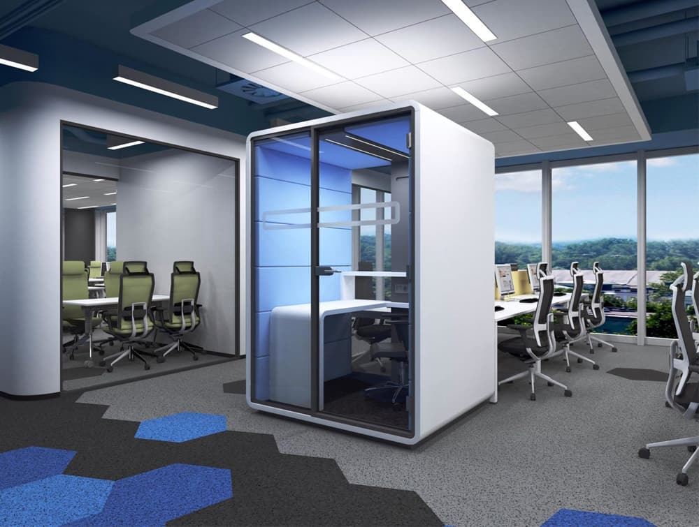 Hush Work Acoustic Seating Workstation in Open Workplace with Ergonomic Chair
