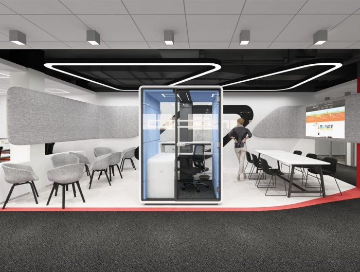Hush Work Acoustic Seating Workstation with Compact Size Desk and Spacious Shelf with a Hanger