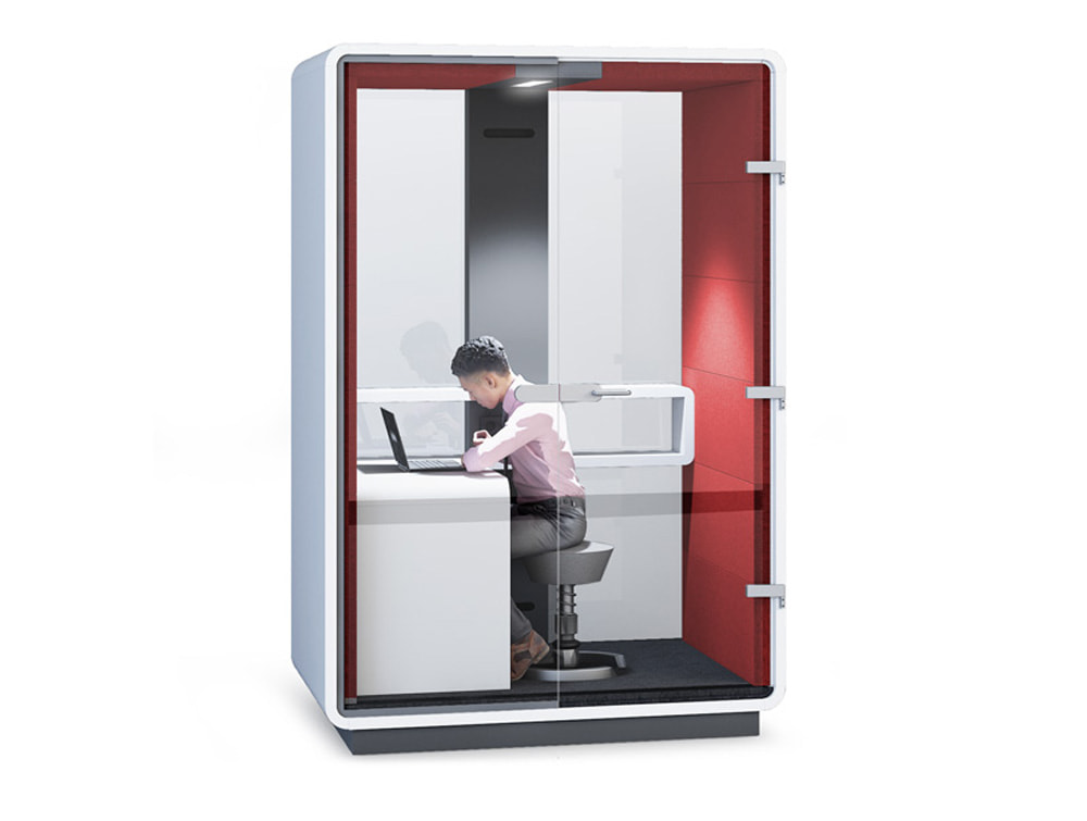 Hush Work Individual Seating Working Pod with Acoustic Glass Door with Handler