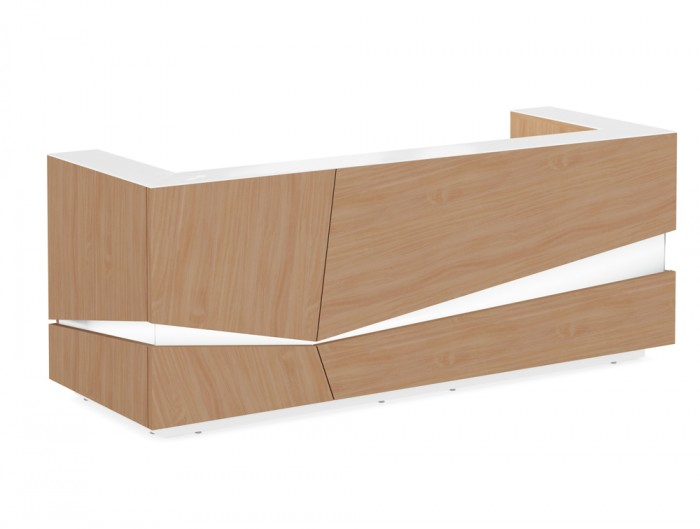 Illusion Office Reception Desk Counter in Beech Wooden Finish and White Glass Countertop