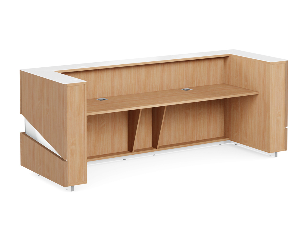 Illusion Office Reception Desk Counter in Beech Wooden Finish and White with Cable Management