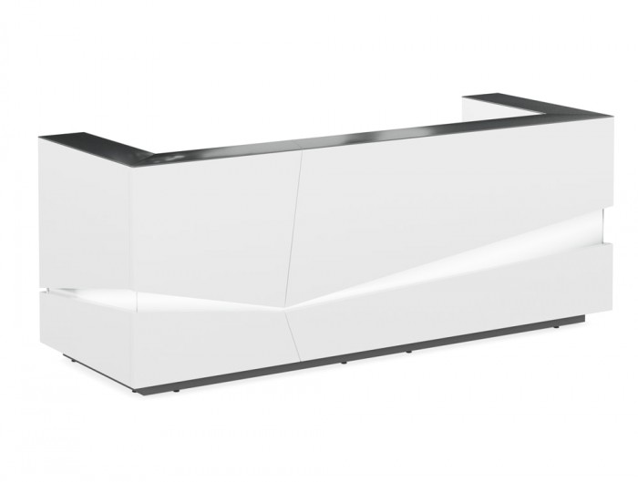 Illusion Office Reception Desk Counter in White Finish with Black Countertop and LED Lighting