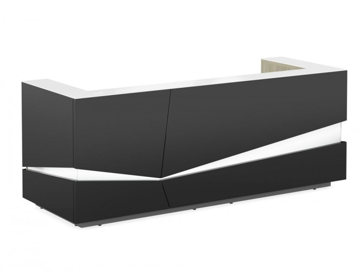 Illusion Premium Anthracite High Gloss Reception Counter Unit with LED Light Urban Oak Inner Element Countertop White