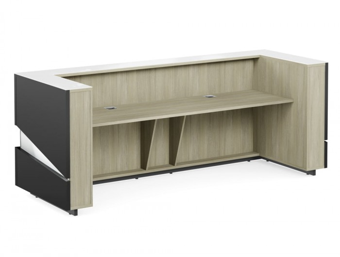 Illusion Premium Anthracite High Gloss Reception Counter Unit with LED Light Urban Oak Inner Elements