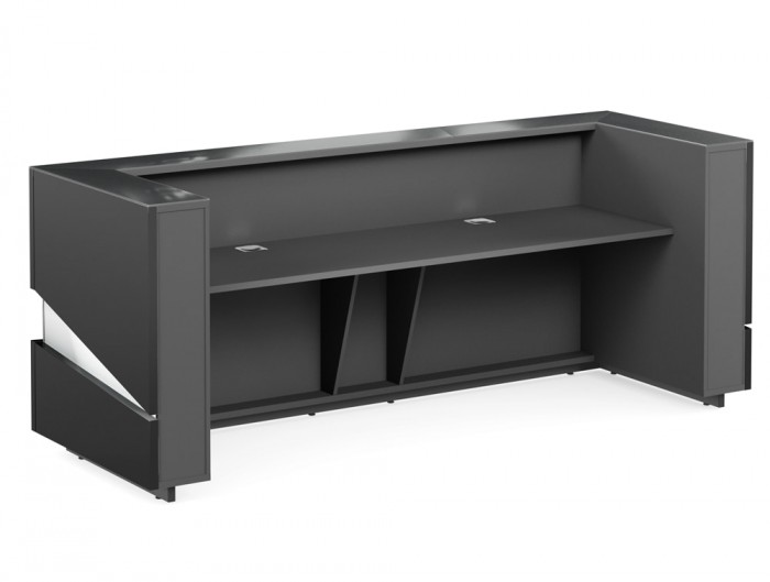 Illusion Premium High Gloss Anthracite Reception Counter for Office with Cable Management