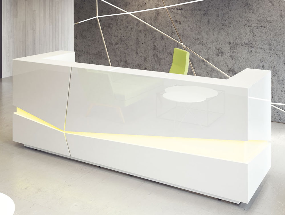 Illusion Premium High Gloss Reception Counter Unit with Green Led Lighting in White