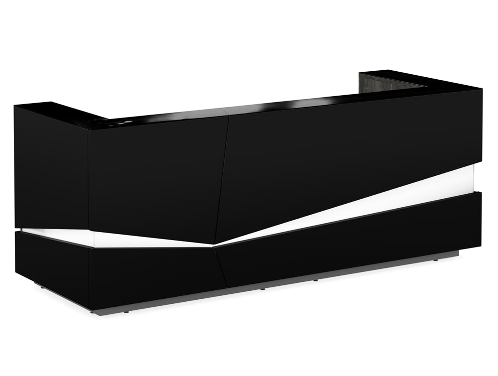 Illusion Premium High Gloss Reception Counter Unit with LED Lighting in Black Outter and Countertop