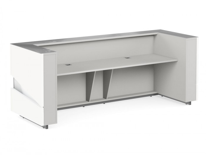 Illusion Premium High Gloss White Office Reception Counter with Grey Inner Finish