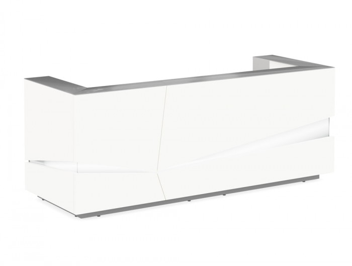 Illusion Premium High Gloss White Reception Desk Counter Unit with LED Lighting and Silver Countertop