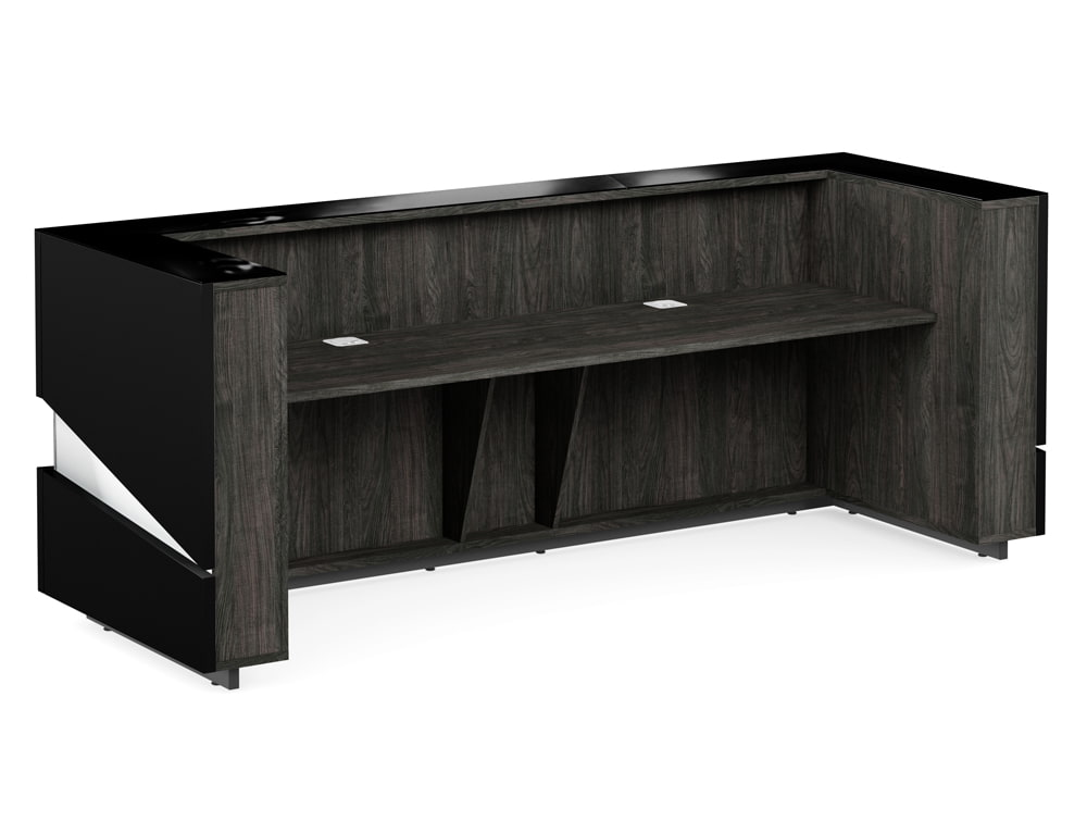 Illusion Premium Office Desk Counter for Reception Area in Black High Gloss Finish and Carbon Walnut