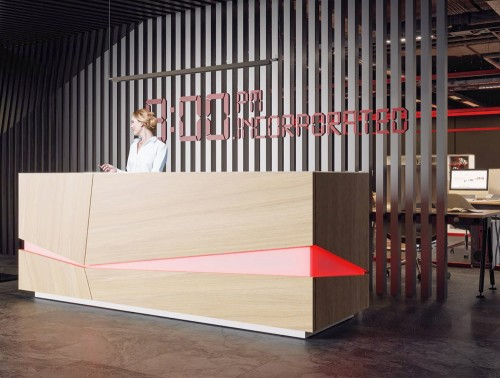 Illusion Wooden Office Reception Desk Counter with Red LED Lighting in Urban Oak and White Finish