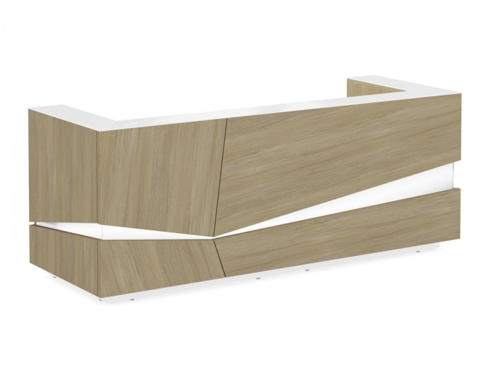 Illusion Wooden Reception Counter Unit in Urban Oak and White Finish with LED Lighting