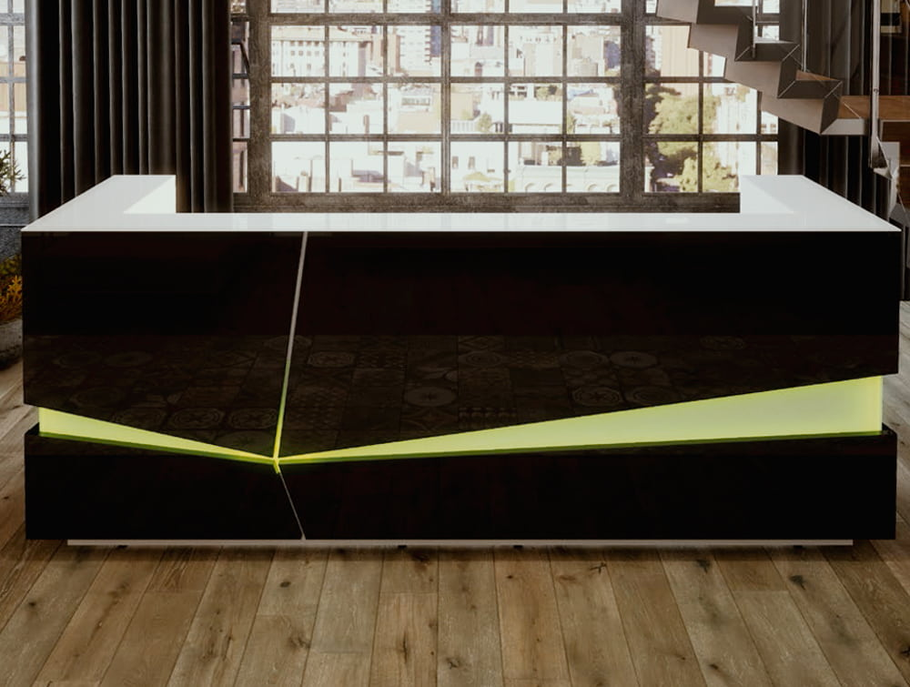 Illusion Wooden Reception Counter Unit with LED Lighting in Carbon Walnut and White Finishes