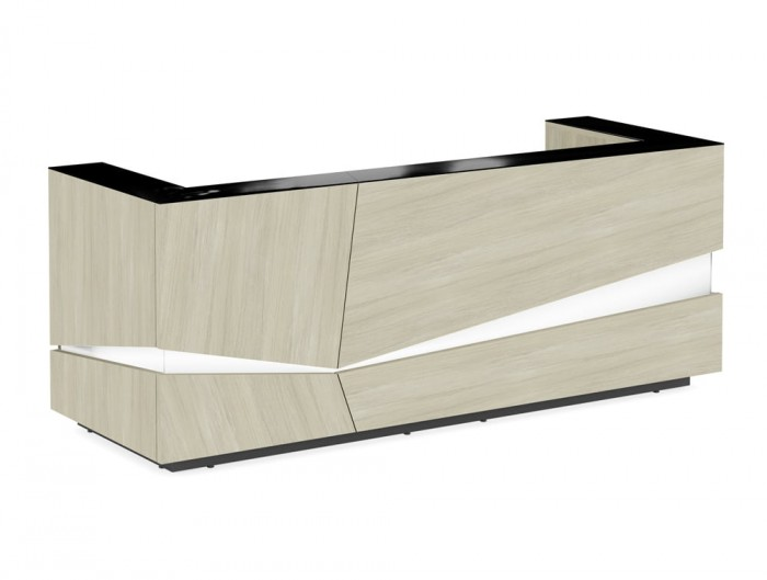 Illusion Wooden Reception Desk Counter Unit in Maple with LED Lighting and Black Countertop