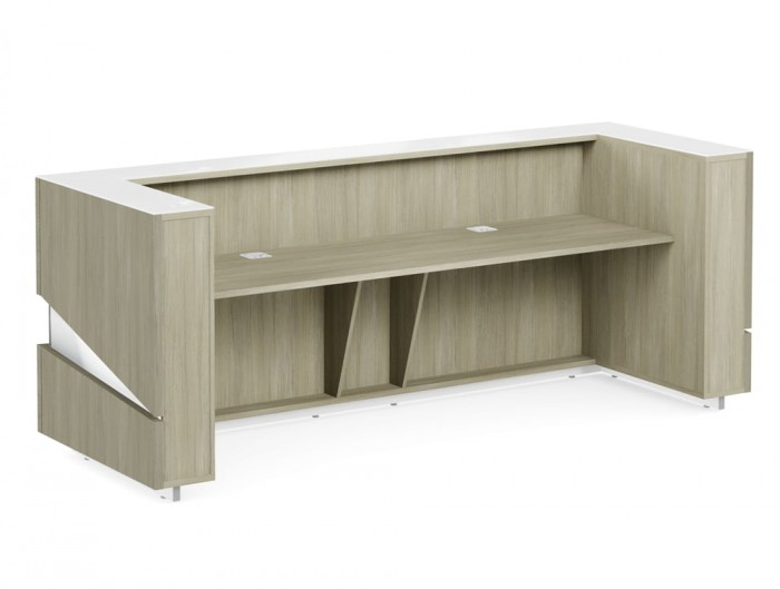 Illusion Wooden Reception Desk Counter for Office in Urban Oak and White Countertop