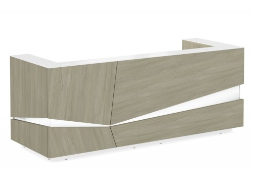 Illusion Wooden Reception Desk Counter for Office in Urban Oak and White Countertop Front