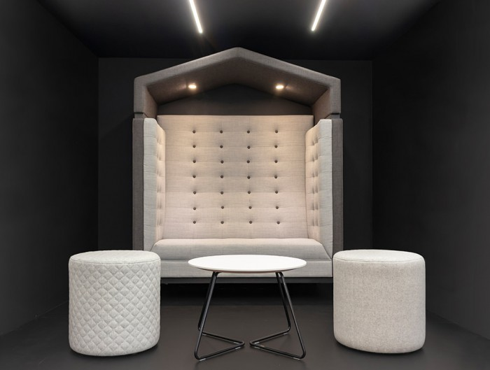 Jig Arbour 2 Seater Acoustic Meeting Pod in Office Space Grey with LED Lightimg Pouffes for Reception Area