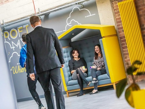 Jig Arbour 2 Seater Acoustic Meeting Pod in Office Space Yellow and Grey for Breakout Area