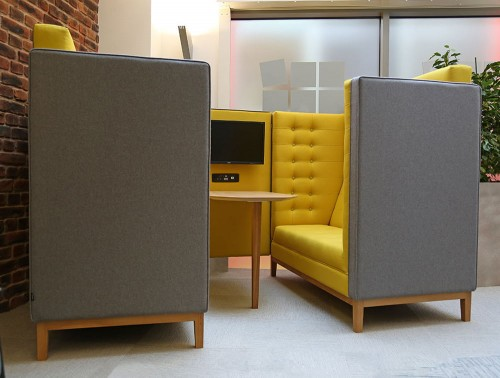 Jig Cave 4 Seaters Acoustic Meeting Pod Grey and Yellow with TV Screen and Power Module in Reception Area
