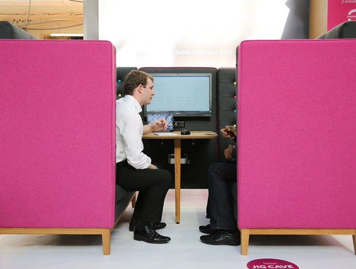 Jig Cave 4 Seaters Acoustic Meeting Pod in Pink Fuschia for Bank