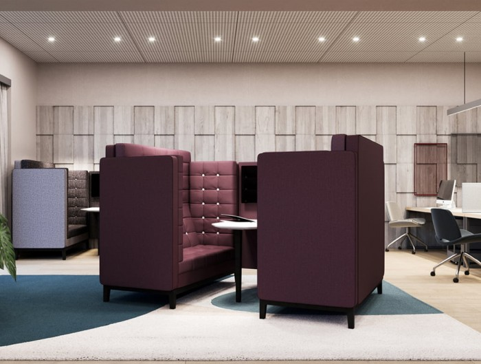 Jig Cave 4 Seaters Acoustic Meeting Pod in Purple in Modern Office Space Agency