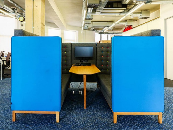 Jig Cave 4 Seaters Acoustic Meeting Pod with Screen in Blue Open Office Space