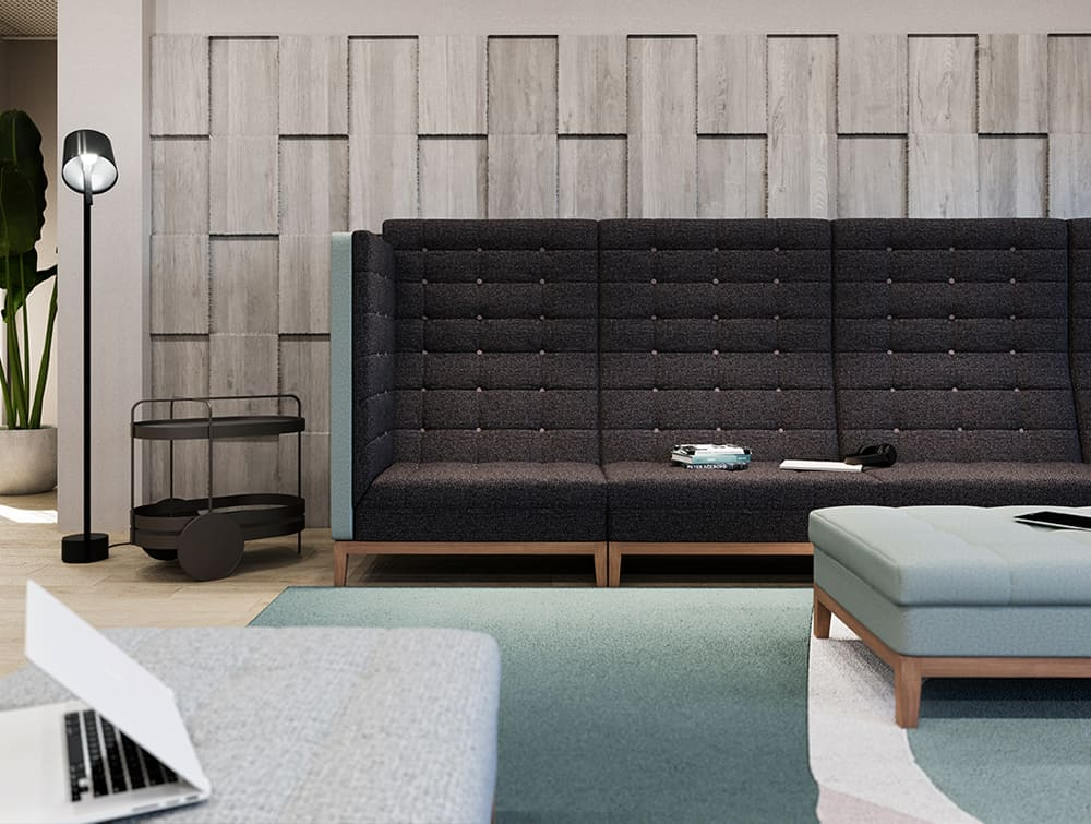 Jig Modular High Back Sofa in Black and Blue for Breakout Area