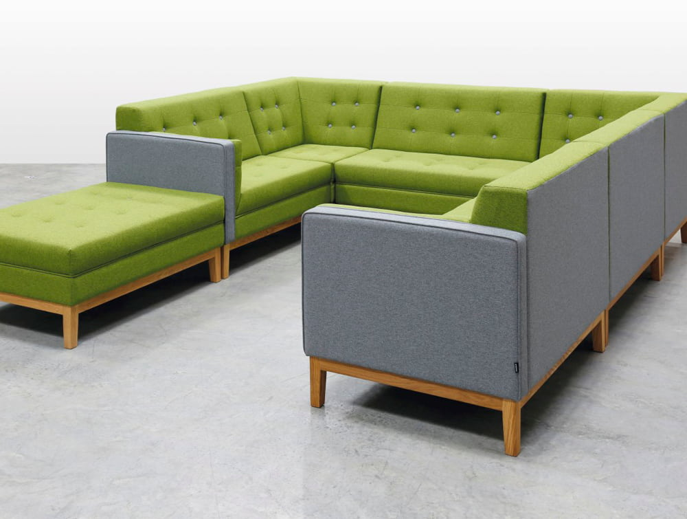 Jig Modular Low Back Sofa with Bench Poffe Grey and Green for Breakout Area
