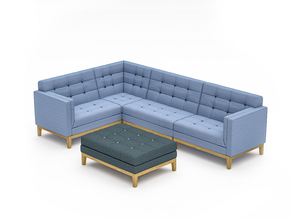 Jig Modular Low Back Sofa with Upholstered Table in Blue with Wood Frame