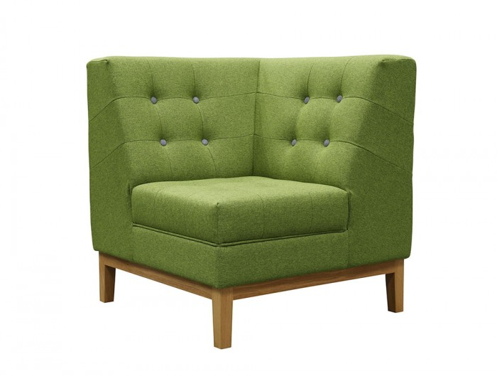 Jig Modular Low Back Soft Seating Corner Unit in Green