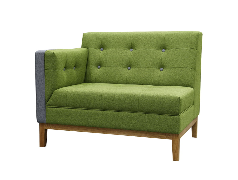 Jig Modular Low Back Soft Seating End Right in Green
