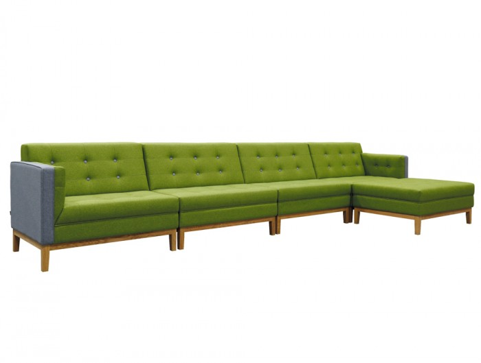 Jig Modular Low Back Soft Seating Range Green and Grey